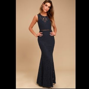 Lulus Music of the Heart Lace Maxi Dress Navy Blue